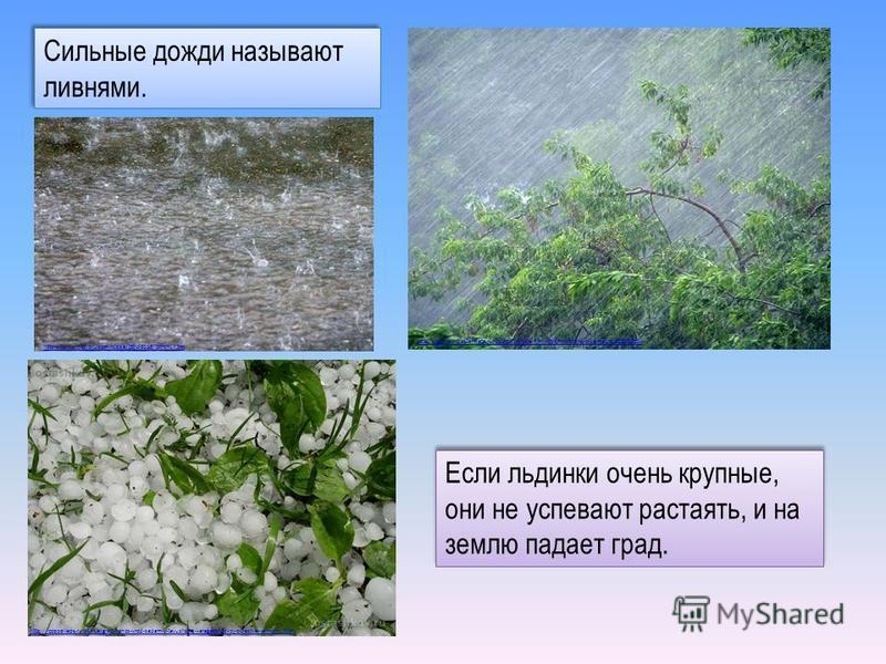Если льдинки очень крупные, они не успевают растаять, и на землю падает град. Сильные дожди называют ливнями. http://barnaul.bezformata.ru/listnews/shkvalnim-vetrom-proshel-v-barnaule/22007330 / http://www.newsru.com/russia/09jul2013/torrent.html htt