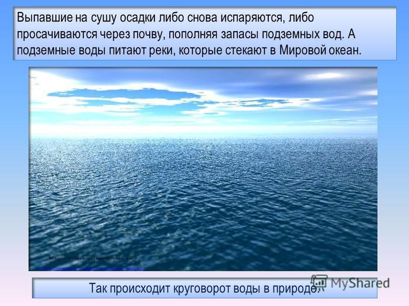Выпавшие на сушу осадки либо снова испаряются, либо просачиваются через почву, пополняя запасы подземных вод. А подземные воды питают реки, которые стекают в Мировой океан. http://turizm-puteshestvuem.ru/oceans/mirovoj-okean-fakty-video-foto.html Так
