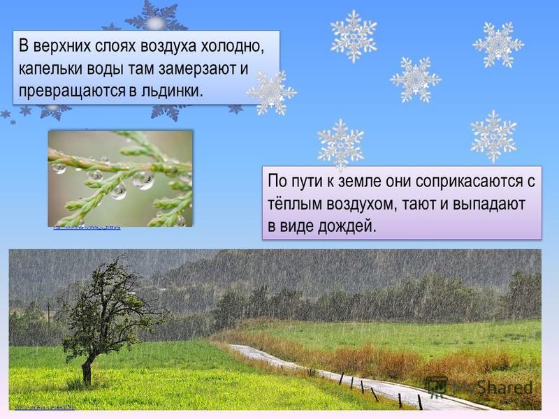 В верхних слоях воздуха холодно, капельки воды там замерзают и превращаются в льдинки. По пути к земле они соприкасаются с тёплым воздухом, тают и выпадают в виде дождей. http://www.bfoto.ru/bfoto_ru_2133. php http://photo.99px.ru/photos/35765/