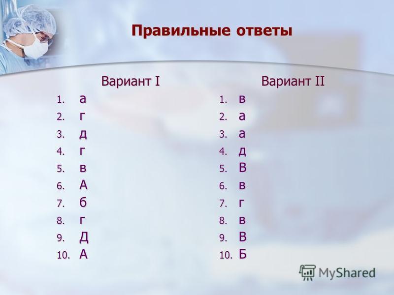 Правильные ответы Вариант I 1. а 2. г 3. д 4. г 5. в 6. А 7. б 8. г 9. Д 10. А Вариант II 1. в 2. а 3. а 4. д 5. В 6. в 7. г 8. в 9. В 10. Б