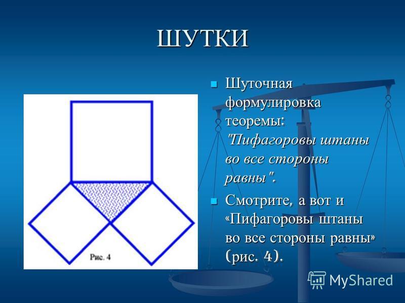 ШУТКИ Шуточная формулировка теоремы :  Пифагоровы штаны во все стороны равны . Смотрите, а вот и « Пифагоровы штаны во все стороны равны » ( рис. 4).