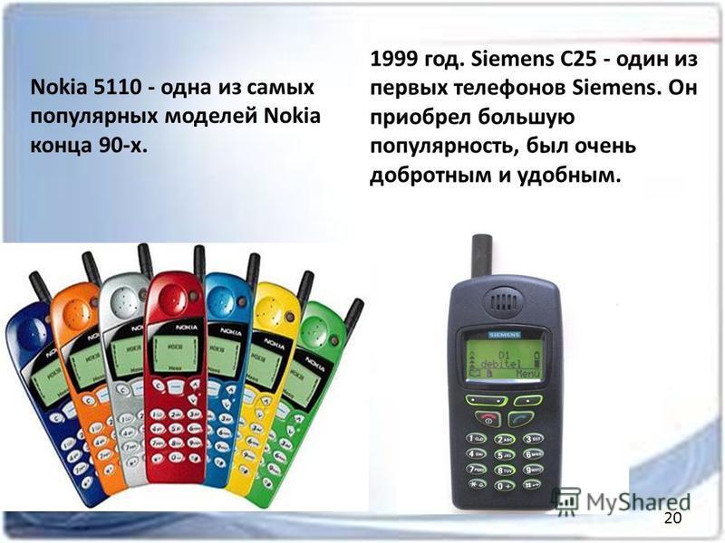 Nokia 5110 - одна из самых популярных моделей Nokia конца 90-х. 1999 год. Siemens C25 - один из первых телефонов Siemens. Он приобрел большую популярность, был очень добротным и удобным. 20