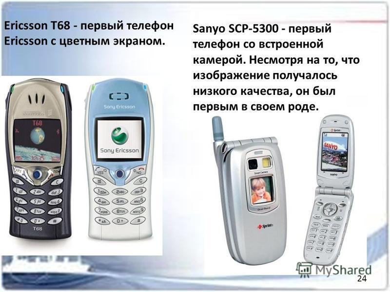 Ericsson T68 - первый телефон Ericsson с цветным экраном. Sanуo SCP-5300 - первый телефон со встроенной камерой. Несмотря на то, что изображение получалось низкого качества, он был первым в своем роде. 24