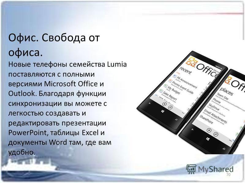 Офис. Свобода от офиса. Новые телефоны семейства Lumia поставляются с полными версиями Microsoft Office и Outlook. Благодаря функции синхронизации вы можете с легкостью создавать и редактировать презентации PowerPoint, таблицы Excel и документы Word