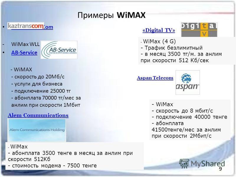 Примеры WiMAX АО KazTransCom -WiMax WLL AB-Service - WiMAX - скорость до 20Мб/с - услуги для бизнеса - подключение 25000 т г - абонплата 70000 т г/мес за анлим при скорости 1Мбит - WiMax (4 G) - Трафик безлимитный - в месяц 3500 т г/м. за анлим при с