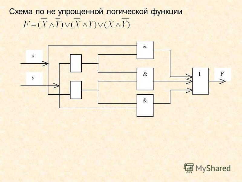 Схема по не упрощенной логической функции