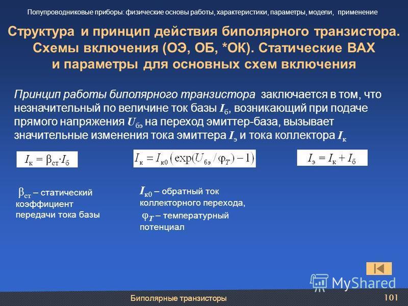 Биполярные транзисторы 101 Структура и принцип действия биполярного транзистора. Схемы включения (ОЭ, ОБ, *ОК). Статические ВАХ и параметры для основных схем включения Полупроводниковые приборы: физические основы работы, характеристики, параметры, мо