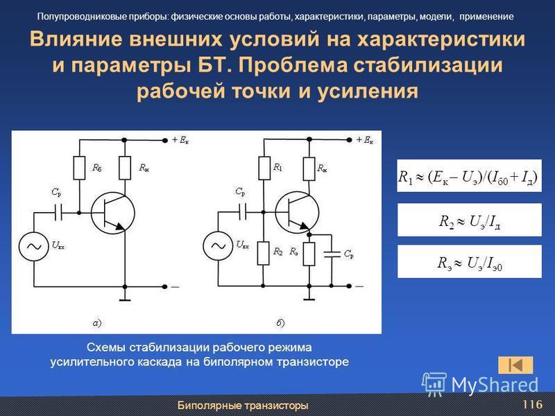 Биполярные транзисторы 116 Влияние внешних условий на характеристики и параметры БТ. Проблема стабилизации рабочей точки и усиления Полупроводниковые приборы: физические основы работы, характеристики, параметры, модели, применение Схемы стабилизации