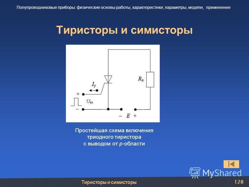 Тиристоры и симисторы 128 Тиристоры и симисторы Полупроводниковые приборы: физические основы работы, характеристики, параметры, модели, применение Простейшая схема включения триодного тиристора с выводом от р-области