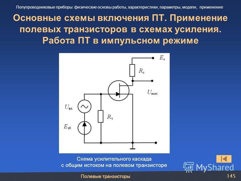 Полевые транзисторы 145 Основные схемы включения ПТ. Применение полевых транзисторов в схемах усиления. Работа ПТ в импульсном режиме Полупроводниковые приборы: физические основы работы, характеристики, параметры, модели, применение Схема усилительно