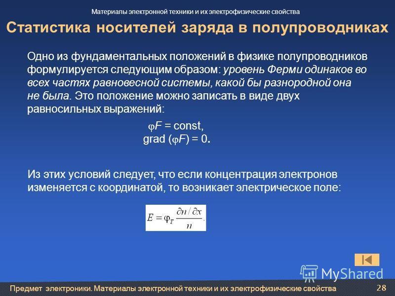 Предмет электроники. Материалы электронной техники и их электрофизические свойства 28 Статистика носителей заряда в полупроводниках Одно из фундаментальных положений в физике полупроводников формулируется следующим образом: уровень Ферми одинаков во