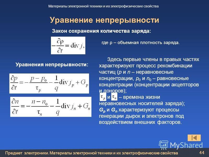 Предмет электроники. Материалы электронной техники и их электрофизические свойства 44 Уравнение непрерывности Материалы электронной техники и их электрофизические свойства Закон сохранения количества заряда: Уравнения непрерывности: где ρ – объемная