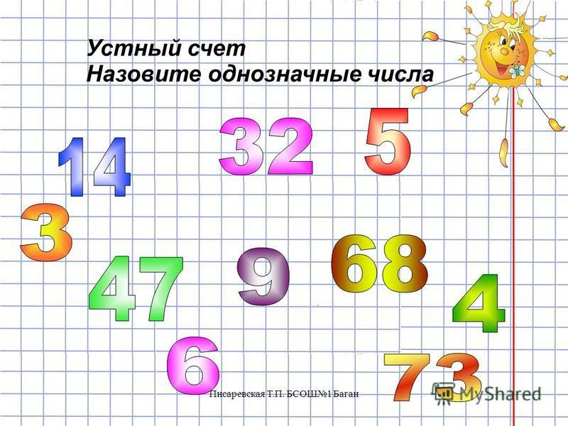 Устный счет Назовите однозначные числа