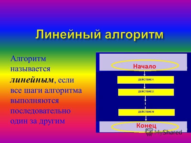 Алгоритм называется линейным, если все шаги алгоритма выполняются последовательно один за другим