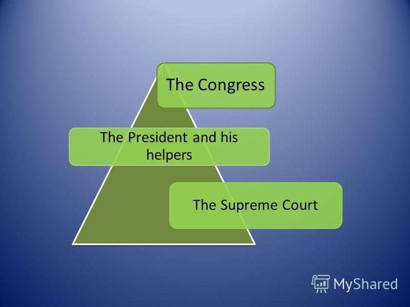 The Congress The President and his helpers The Supreme Court