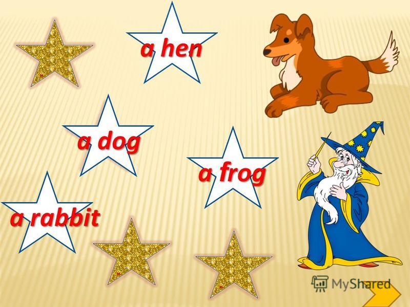 a rabbit a dog a hen a f rog a pig