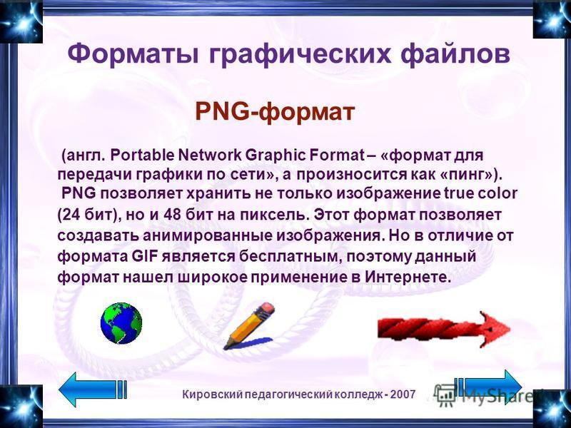 Кировский педагогический колледж - 2007 (англ. Portable Network Graphic Format – «формат для передачи графики по сети», а произносится как «пинг»). PNG позволяет хранить не только изображение true color (24 бит), но и 48 бит на пиксель. Этот формат п
