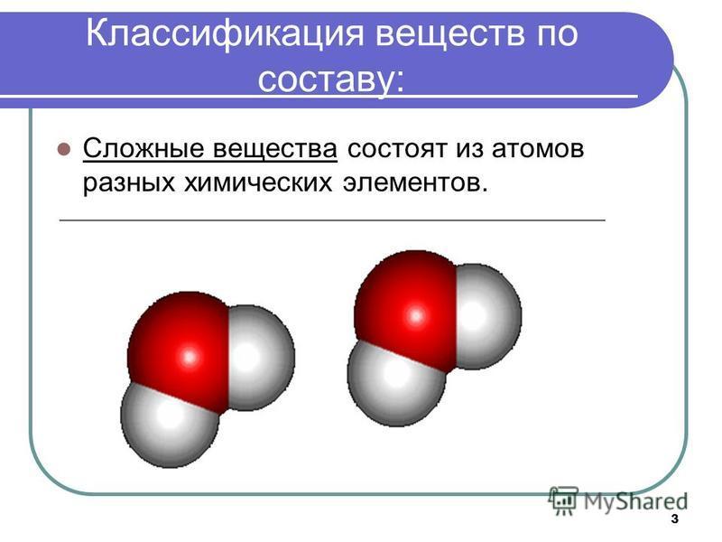 3 Классификация веществ по составу: Сложные вещества состоят из атомов разных химических элементов.