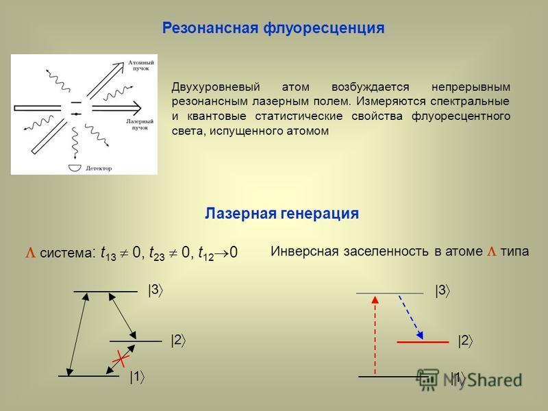 Резонансная флуоресценция Двухуровневый атом возбуждается непрерывным резонансным лазерным полем. Измеряются спектральные и квантовые статистические свойства флуоресцентного света, испущенного атомом Лазерная генерация система : t 13 0, t 23 0, t 12
