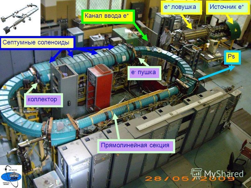 4 Источник е + е + ловушка Канал ввода е + Септумные соленоиды е - пушка коллектор Прямолинейная секция Ps