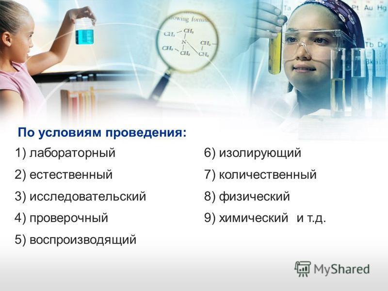 По условиям проведения: 1) лабораторный 2) естественный 3) исследовательский 4) проверочный 5) воспроизводящий 6) изолирующий 7) количественный 8) физический 9) химический и т.д.
