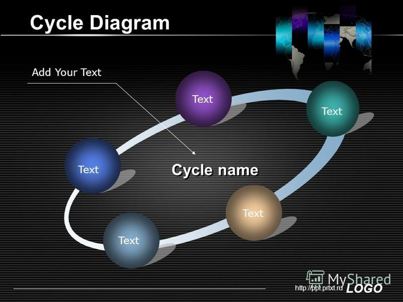 LOGO http://ppt.prtxt.ru Cycle Diagram Text Cycle name Add Your Text
