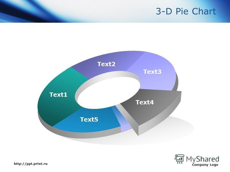 http://ppt.prtxt.ru Company Logo Text1 Text2 Text3 Text4 Text5 3-D Pie Chart