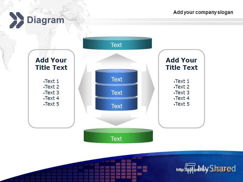 Add your company slogan LOGO http://ppt.prtxt.ru Diagram Text Add Your Title Text Text 1 Text 2 Text 3 Text 4 Text 5 Add Your Title Text Text 1 Text 2 Text 3 Text 4 Text 5 Text