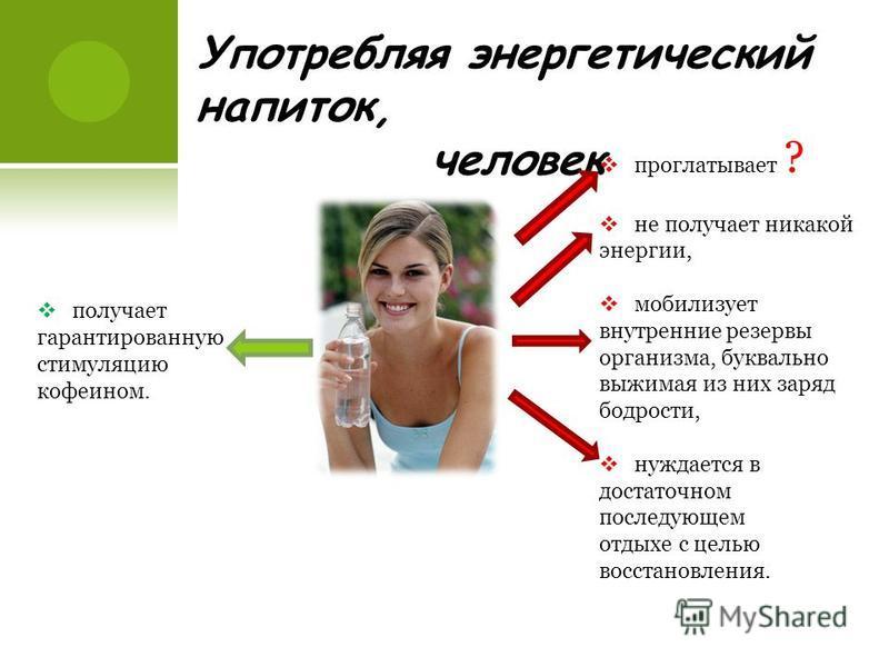 Употребляя энергетический напиток, человек получает гарантированную стимуляцию кофеином. проглатывает ? не получает никакой энергии, мобилизует внутренние резервы организма, буквально выжимая из них заряд бодрости, нуждается в достаточном последующем