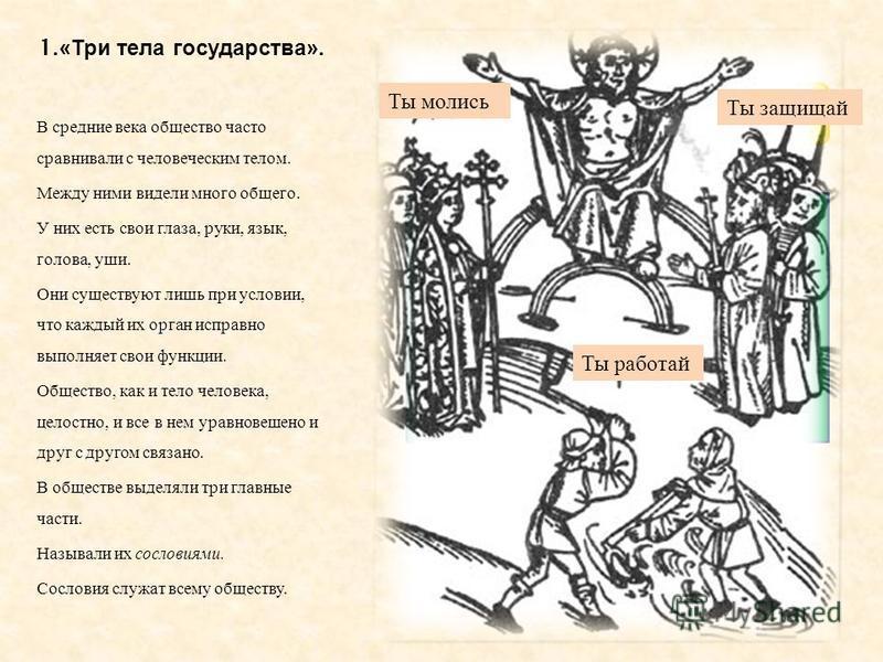 1.« Три тела государства ». В средние века общество часто сравнивали с человеческим телом. Между ними видели много общего. У них есть свои глаза, руки, язык, голова, уши. Они существуют лишь при условии, что каждый их орган исправно выполняет свои фу