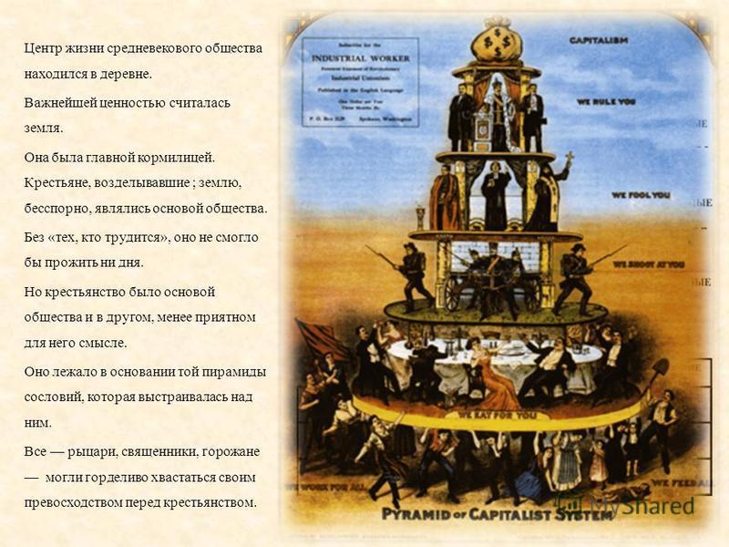 Центр жизни средневекового общества находился в деревне. Важнейшей ценностью считалась земля. Она была главной кормилицей. Крестьяне, возделывавшие ; землю, бесспорно, являлись основой общества. Без « тех, кто трудится », оно не смогло бы прожить ни