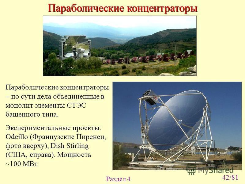Раздел 4 Параболические концентраторы – по сути дела объединенные в монолит элементы СТЭС башенного типа. Экспериментальные проекты: Odeillo (Французские Пиренеи, фото вверху), Dish Stirling (США, справа). Мощность ~100 МВт. Параболические концентрат