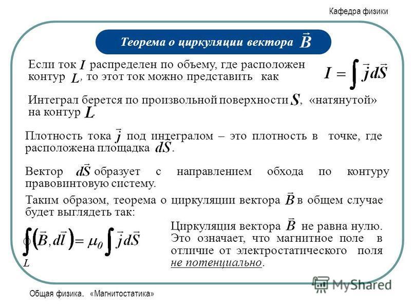 Кафедра физики Общая физика. «Магнитостатика» Теорема о циркуляции вектора Если ток распределен по объему, где расположен контур, то этот ток можно представить как Интеграл берется по произвольной поверхности, «натянутой» на контур. Плотность тока по