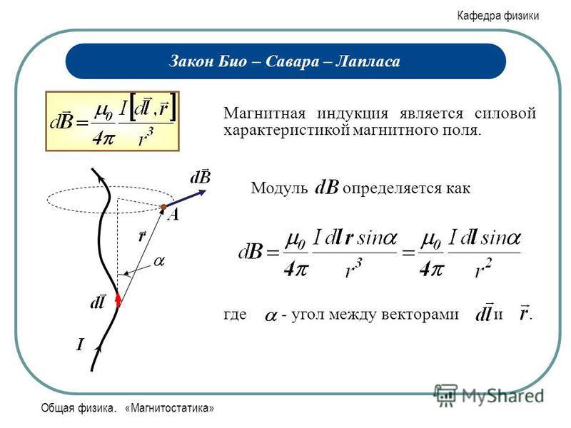 Кафедра физики Общая физика. «Магнитостатика» Закон Био – Савара – Лапласа Магнитная индукция является силовой характеристикой магнитного поля. Модуль определяется как где - угол между векторами и.