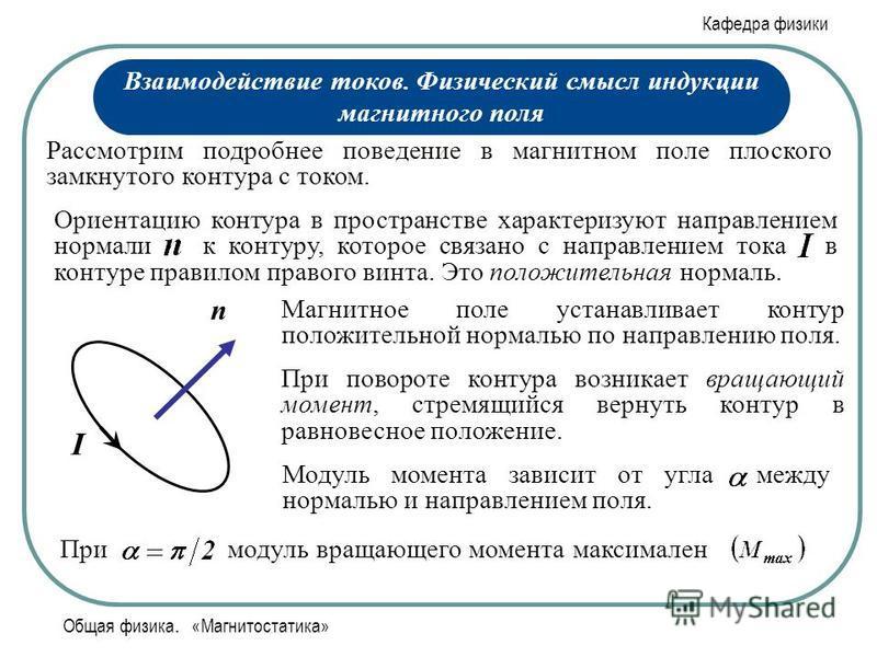 Кафедра физики Общая физика. «Магнитостатика» Рассмотрим подробнее поведение в магнитном поле плоского замкнутого контура с током. Ориентацию контура в пространстве характеризуют направлением нормали к контуру, которое связано с направлением тока в к