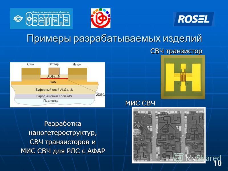 Примеры разрабатываемых изделий СВЧ транзистор МИС СВЧ Разработка наногетероструктур, СВЧ транзисторов и МИС СВЧ для РЛС с АФАР 10