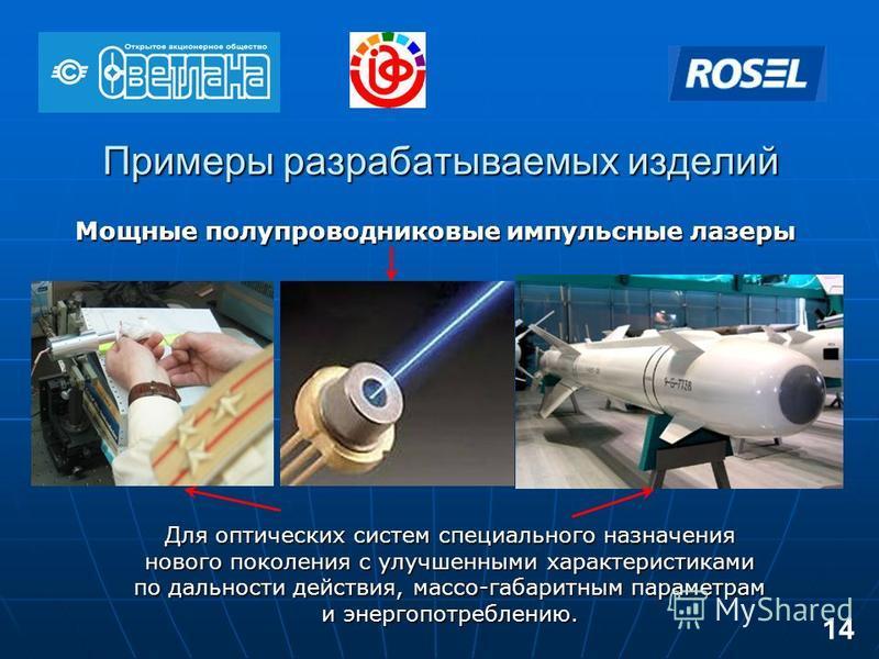 Примеры разрабатываемых изделий Мощные полупроводниковые импульсные лазеры Для оптических систем специального назначения нового поколения с улучшенными характеристиками по дальности действия, массо-габаритным параметрам и энергопотреблению. 14