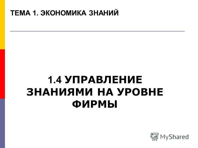 ТЕМА 1. ЭКОНОМИКА ЗНАНИЙ 1.4 УПРАВЛЕНИЕ ЗНАНИЯМИ НА УРОВНЕ ФИРМЫ