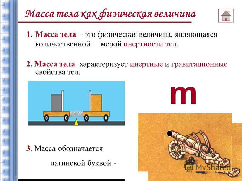 Масса тела как физическая величина План обобщенного характера 1. Определение 2. Обозначение 3. Единица измерения в СИ. Кратные и дольные единицы измерения массы 4. Эталон массы 5. Вектор или скаляр 6. Примеры масс тел 7. Способы измерения массы 8. Св
