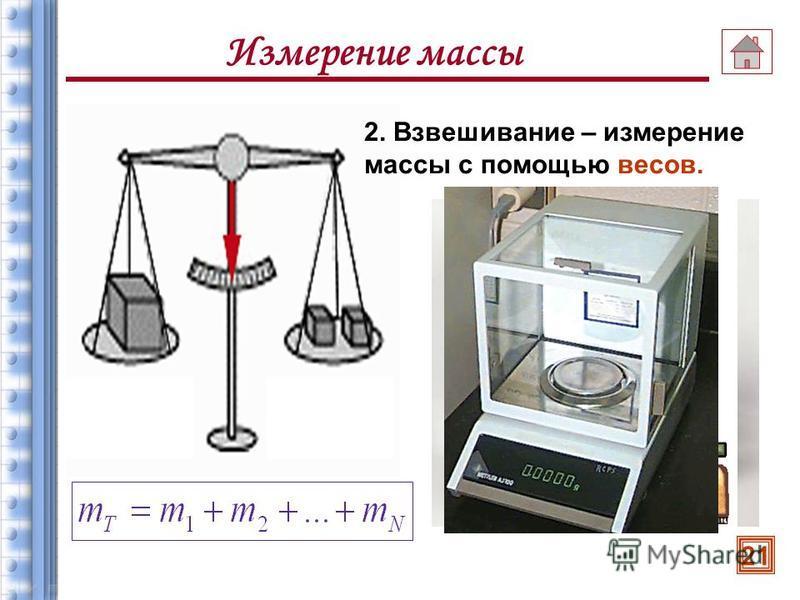 Измерение массы Массу тела можно измерить двумя способами: где известная масса (масса эталона) 1. Взаимодействие тел, используя формулу: 20