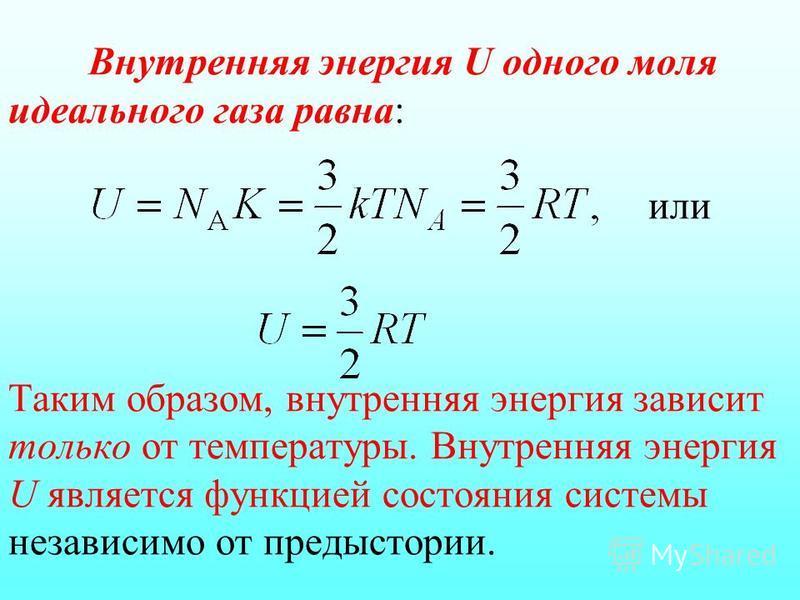 Внутренняя энергия U одного моля идеального газа равна: или Таким образом, внутренняя энергия зависит только от температуры. Внутренняя энергия U является функцией состояния системы независимо от предыстории.