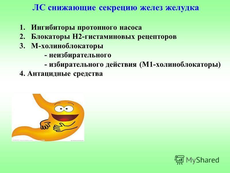 ЛС снижающие секрецию желез желудка 1. Ингибиторы протонного насоса 2. Блокаторы Н2-гистаминовых рецепторов 3.М-холиноблокаторы - неизбирательного - избирательного действия (М1-холиноблокаторы) 4. Антацидные средства