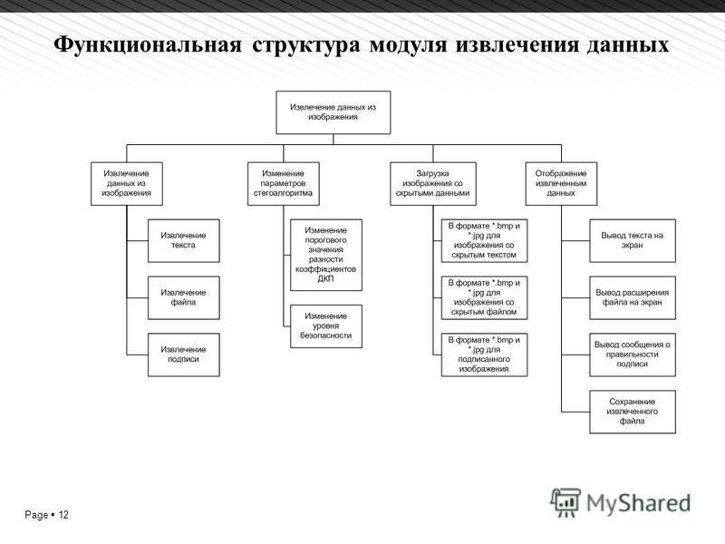 Page 12 Функциональная структура модуля извлечения данных 1