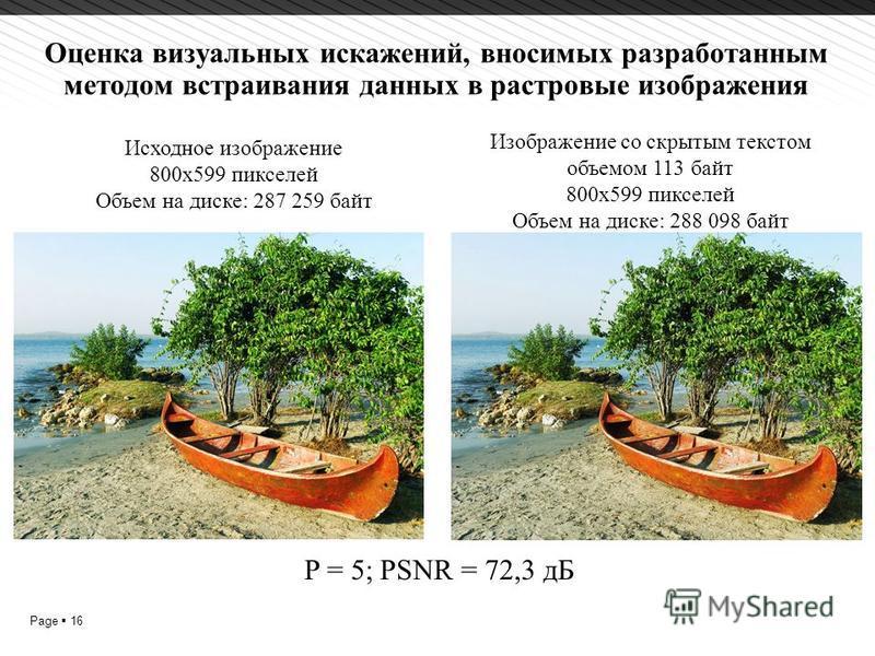 Page 16 Оценка визуальных искажений, вносимых разработанным методом встраивания данных в растровые изображения P = 5; PSNR = 72,3 дБ Исходное изображение 800x599 пикселей Объем на диске: 287 259 байт Изображение со скрытым текстом объемом 113 байт 80