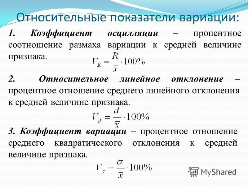 Относительные показатели вариации: 1. Коэффициент осцилляции – процентное соотношение размаха вариации к средней величине признака. 2. Относительное линейное отклонение – процентное отношение среднего линейного отклонения к средней величине признака.