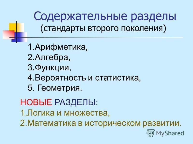 Содержательные разделы (стандарты второго поколения) 1.Арифметика, 2.Алгебра, 3.Функции, 4. Вероятность и статистика, 5. Геометрия. НОВЫЕ РАЗДЕЛЫ: 1. Логика и множества, 2. Математика в историческом развитии.