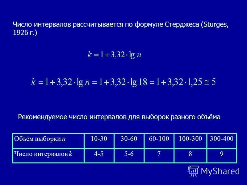Число интервалов рассчитывается по формуле Стерджеса (Sturges, 1926 г.) Рекомендуемое число интервалов для выборок разного объёма Объём выборки n10-3030-6060-100100-300300-400 Число интервалов k4-55-6789