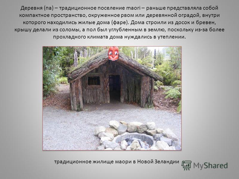 Деревня (па) – традиционное поселение maori – раньше представляла собой компактное пространство, окруженное рвом или деревянной оградой, внутри которого находились жилые дома (фаре). Дома строили из досок и бревен, крышу делали из соломы, а пол был у