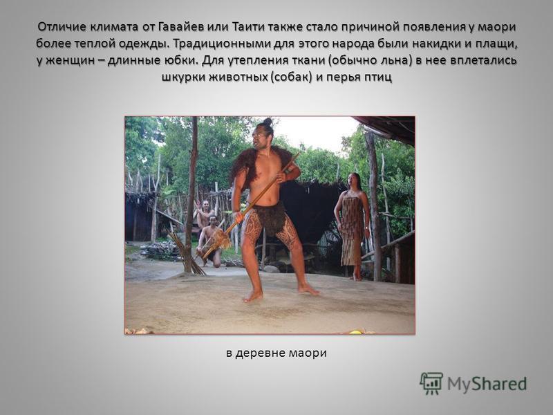 Отличие климата от Гавайев или Таити также стало причиной появления у маори более теплой одежды. Традиционными для этого народа были накидки и плащи, у женщин – длинные юбки. Для утепления ткани (обычно льна) в нее вплетались шкурки животных (собак)