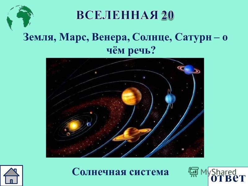 Земля, Марс, Венера, Солнце, Сатурн – о чём речь ? Солнечная система